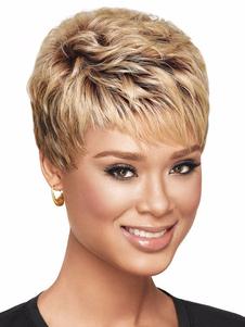 Pelucas sintéticas rizadas Golden Boycuts de color marrón en capas de dos tonos de las mujeres pelucas cortas