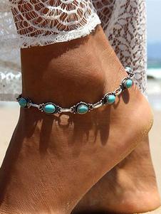 Cadena de pie para mujer estilo moderno Corchete de la langosta de metal azul