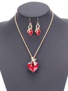 Conjunto de jóias vermelhas Rubi Rhinestones Sweetheart Design Colar de pingente de mulher com brincos de gota