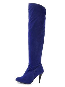 الفخذ أحذية عالية جلد الغزال الأزرق الملكي اصبع القدم أحذية عالية الكعب فوق الركبة للنساء
