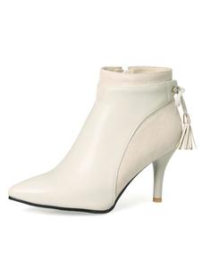 botines mujer color albaricoque  de tacón de stiletto de puntera puntiaguada con borlas 8cm Piel sintética Invierno Color liso Cremallera