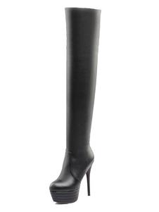 Над сапогами на коленях Высокие каблуки для женщин