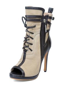 Botas Curtas para street wear com laço Salto de PU dedo do pé peep Médio para aumenta a altura  cor de laranja-amarelado