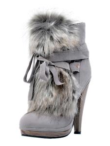 Серые зимние сапоги Высокие каблуки Женские круглые носки
