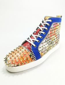 Zapatillas de deporte azules de los hombres cubren el dedo del pie redondo de los remaches