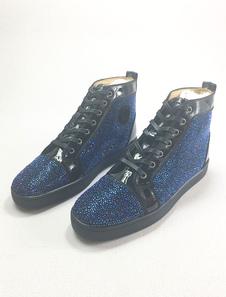 الأزرق تزلج أحذية جلدية الرجال جولة تو الدانتيل يصل الراين عالية أعلى حذاء