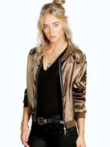 Gold Bomber Jacket Round Neck Long Sleeve Zipper Comfy Short Jackets For Women