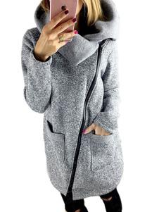 Cappotto grigio asimmetrico comodo monocolore cotone misto tasche