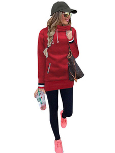 Red Hoodie Dress Hooded Long Sleeve Striped Fleece Bodycon Dresses For Women
