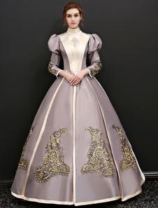 الفيكتوري عصر زي المرأة هالوين فساتين فضية اللون الرمادي