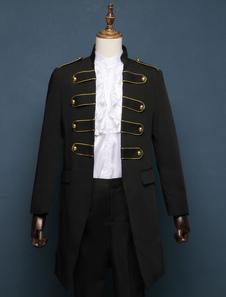 Calças pretas do Dia das Bruxas do Halloween do traje do vintage barroco com parte superior