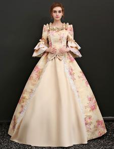 Disfraz Carnaval Vestido clásico Tela Satén para adultos Estilo Rococó Actuación de color champaña con vestido Carnaval
