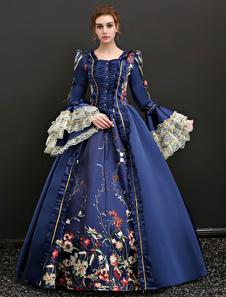Disfraz Carnaval Vestido clásico Tela Satén para adultos Era victoriana para Halloween con vestido Carnaval