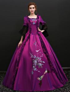 Disfraz Carnaval Vestido clásico Tela Satén para adultos europeo para Halloween Violeta con vestido Carnaval