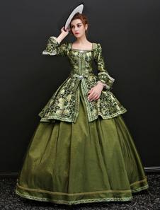 Disfraz Carnaval Vestido de retro de Jacquard para adultos Estilo Barroco para Halloween verde con vestido Carnaval