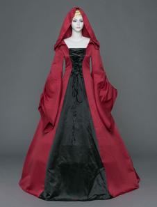 Roupas de mulher vintage gótica Vermelho Tijola conjunto Tecido de Cetim com mangas compridas