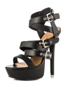 Черные сексуальные туфли на высоком каблуке Женская платформа Открытые ноги с пряжкой Детали Strappy Sandals