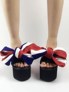 صنادل حلوة لوليتا تو فتح منصة Bows اللون كتلة أحذية لوليتا