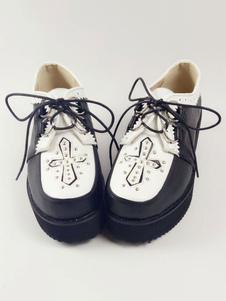 كلاسيك لوليتا أحذية جولة تو إسفين كعب اللون كتلة الدانتيل يصل الحلقات بو الأسود لوليتا أحذية