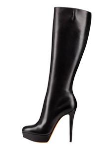 أحذية عالية الكعب أحذية العجل العريض الأسود منصة جلدية النساء الأحذية
