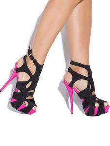 Черные сексуальные сандалии шпильки пятки Peep Toe замши женские сандалии обувь