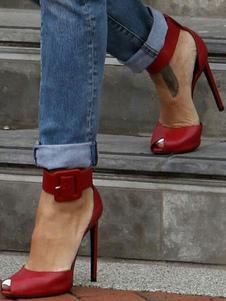 Burgundy High Heels Peep Toe Stiletto Heel PU tornozelo Strap Buckled Women's Pumps