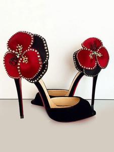 Scarpe pompe da sera nere festa donna tacco a fino 11cm A punta aperta Tacco basso(<1.5cm) a fiori