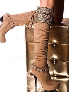 Коричневые коленные сапоги Женская платформа Leopard High Heel Boots