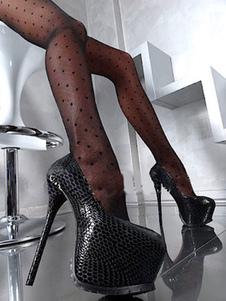 Zapatos de plataforma de puntera de forma de almendra de tacón de stiletto sexy de PU Zapatos de tacón alto para mujer para uso en club