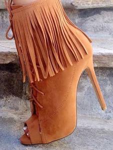 Botas Curtas para mulher para street wear com franja Salto de Tecido Coberto dedo do pé peep para aumenta a altura