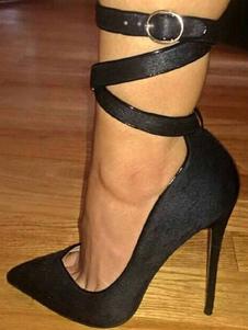 Sapatos de Salto Alto 2020 Preto Dedo Apontado Stiletto Heel Ankle Strap Mulheres Bombas