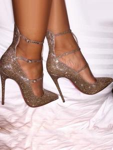 Золотые вечерние ботинки Женские высокие каблуки Sequined Pointed Toe Strappy Pumps