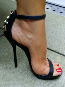 Sandálias 2020 de Salto Alto Preto Aberto Toe Tira No Tornozelo Rebites Stiletto Sandália Sapatos para as mulheres