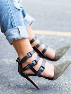 Zapatos de tacón de puntera puntiaguada Cuero con apariencia suave de oliva de dos tonos con hebilla de tacón de stiletto
