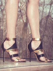 Sandalias de puntera abierta de dos tonos para fiesta de tacón de stiletto Sandalias
