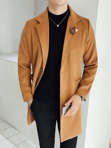 Хаки мужские пальто отложной воротник с длинным рукавом Regular Fit длинное пальто