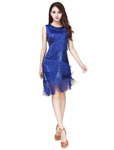 Костюм латинского танца Женские тюльские королевские синие платья