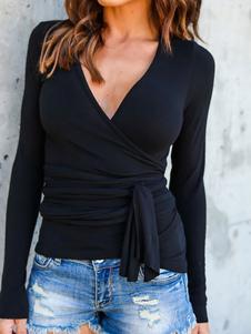 أسود تي شيرت الخامس الرقبة طويلة الأكمام التفاف الأعلى للنساء