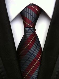 Corbata gris con dibujo de cuadros formal