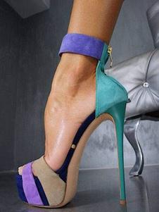 المرأة مثير الصنادل المفتوحة تو خنجر كعب اللون كتلة تيل صندل الأحذية