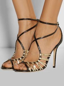 Sandalias de tacón de stiletto para fiesta Talla grande de punter Peep Toe de dos tonos estilo moderno para mujer
