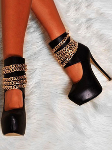 Сексуальные высокие каблуки Черные женские стилетные каблуки Миндальные пальцы PU Цепочки плюс размерные насосы