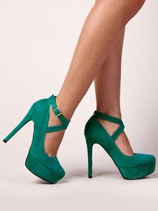 Zapatos de plataforma Cuero con apariencia suave verdes Color liso estilo moderno