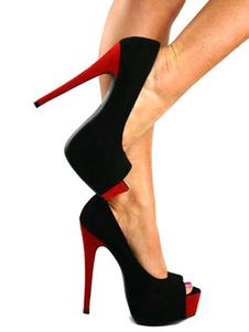 Peep Toe Heels Black Stiletto Heel Two Tone Nubuck Slip On Pumps For Women