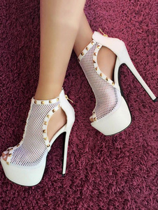 Zapatos de plataforma de tacón de stiletto de punter Peep Toe para mujer para uso en club Talla grande