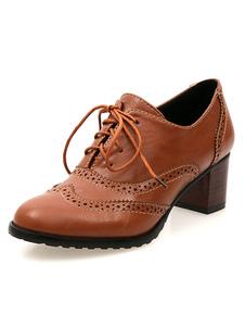 Zapatos de Oxford de tacón gordo de puntera redonda con cinta ajustable con dibujo de animalestilo moderno estilo street wear para mujer Otoño AjzeDrY