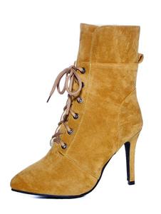 Botas Curtas para mulher para street wear Salto de Tecido Coberto dedo do pé pontiagudo 21-24cm Sola de Antiderrapante Borracha
