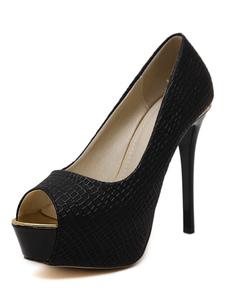 Zapatos Peep toe elegantesColor liso de tacón gordo para mujer bgnt9