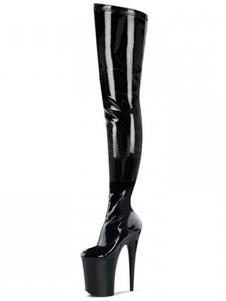 Над сапогами колена Сексуальная черная платформа Высокий каблук Круглый Toe Бедро высокие сапоги для женщин