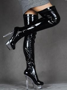Над сапогами колена Черный сексуальный высокий каблук круглый носок Stiletto свет лакированной кожи бедра высокие сапоги для женщин